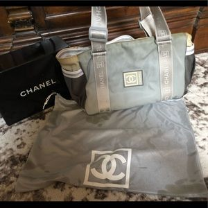 Authentic CHANEL Sport Gray nylon large tote bag